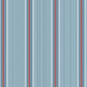 Limoges (Linen Union) - 2 - Light blue coloured linen fabric featuring a pattern of vertical stripes in denim blue and dusky red