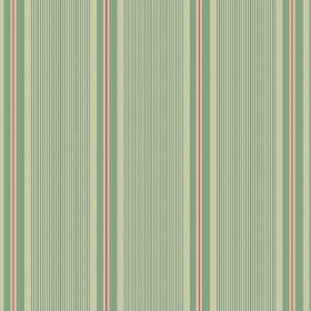 Limoges (Cotton) - 4 - Mostly green shades making up a striped pattern on cotton fabric, but with some red and salmon pink elements