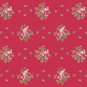 Uzes Scatter (Cotton) - 1 - Groups of small, undefined cream, pink and green flowers printed in rows over bright pink-red cotton fabric