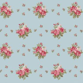 Uzes Scatter (Linen Union) - 2 - Small pink, green and cream flowers arranged in rows over light blue coloured linen fabric