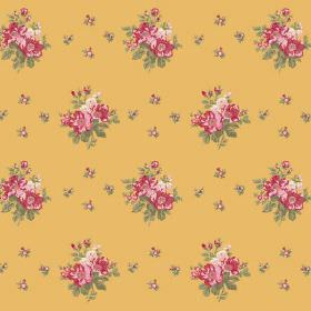 Uzes Scatter (Linen Union) - 3 - Fabric made from gold coloured linen, with a floral pattern in red, pink, green and cream
