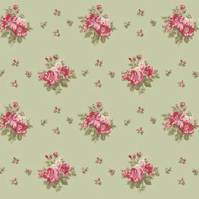 Uzes Scatter (Cotton) - 4 - Light green fabric made from cotton as a background for groups of red, pink and green flowers arranged in rows