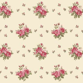 Uzes Scatter (Linen Union) - 6 - Rows of red, pink, green and pink flowers printed on a cream background made from linen fabric
