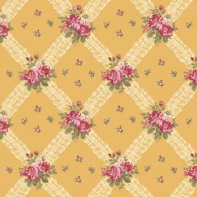 Uzes (Cotton) - 3 - Gold coloured cotton fabric as a background for a pattern of a light yellow diagonal grid and pink and green florals
