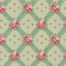 Uzes (Cotton) - 4 - Diagonal stripes running both ways on a plain cotton background, both in shades of green, scattered with pink flowers