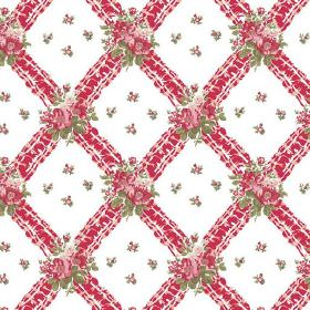 Uzes (Cotton) - 5 - Patterned bright red stripes which create a diagonal grid on white cotton fabric printed with red-pink and green flowers