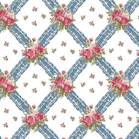 Uzes (Cotton) - 6 - White cotton fabric printed with a denim blue coloured diagonal grid and bunches of pink and green flowers