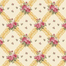 Uzes (Cotton) - 7 - Pink and green flowers printed on a yellow diagonal grid pattern on a cream cotton fabric background