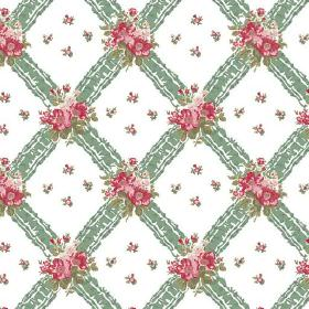 Uzes (Linen Union) - 8 - Patterned green stripes printed with green and pink-red florals over a white linen fabric background