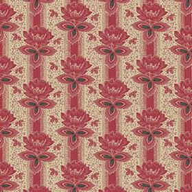 Vasily (Linen Union) - 2 - Linen fabric in cream, printed with dusky red stripes and flowers arranged in rows, with some dark green leaves