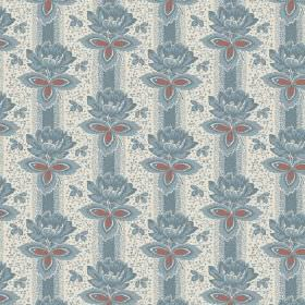 Vasily (Linen Union) - 3 - Dusky blue flowers arranged in rows over dusky blue stripes on a stone coloured linen fabric background
