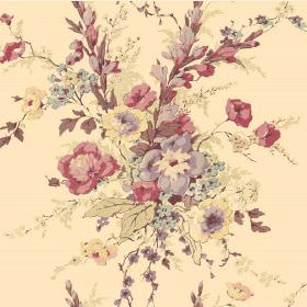 Compton (Linen Union) - 1 - Large bouquets of pastel pink, purple, blue and yellow flowers printed on a cream background of linen fabric