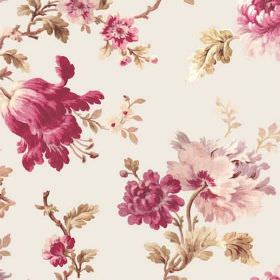 Elsted (Cotton) - 1 - Large florals in dark and light shades of pink printed with green-gold leaves on very pale pink-white cotton fabric