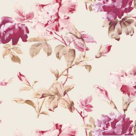 Midhurst (Cotton) - 1 - Large dark pink and light pink roses printed with cream-green leaves on cotton fabric in an off-white colour