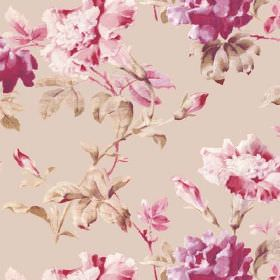 Midhurst (Cotton) - 2 - Light brown coloured cotton fabric featuring a realistic floral pattern in light and dark shades of pink and cream-g