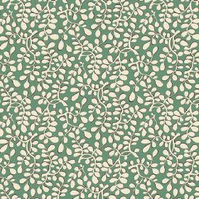 Bellare (Linen Union) - 8 - Cream coloured leaves patterning the top of linen fabric in a bright shade of green