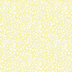Bellare (Cotton) - 11 - Subtly patterned white and yellow stylised leaf print cotton fabric