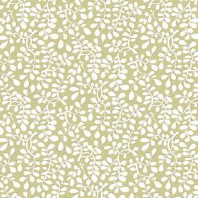 Bellare (Cotton) - 12 - White leaves which are stylised printed on a light green cotton fabric background
