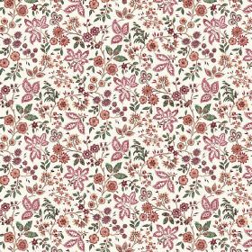 Soniare (Linen Union) - 3 - White linen fabric printed with small leaves in different styles and green, red-orange and pink-purple colours