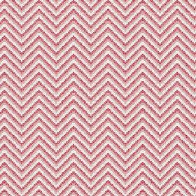 Cantare (Cotton) - 1 - Zigzag lines made up of red, salmon pink and white dots printed on cotton fabric