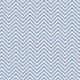 Cantare (Linen Union) - 2 - Blue, grey and white linen fabric featuring zigzagged lines made up of dots
