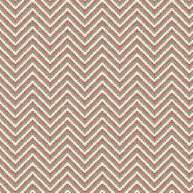 Cantare (Linen Union) - 3 - Linen fabric printed with zigzag lines made up of green, dusky red and cream coloured dots