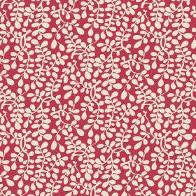 Bellare (Linen Union) - 3 - Bright red linen fabric, printed with a design of small white stylised leaves