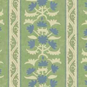 Venya (Cotton) - 2 - Rows of cream and light blue patterns and stripes printed on a light green cotton fabric background