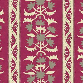 Venya (Linen Union) - 3 - Patterns and stripes in cream and grey printed repeatedly over dark pink linen fabric