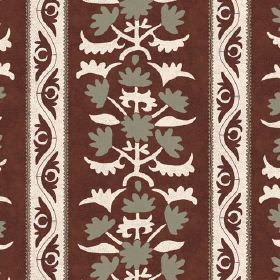 Venya (Linen Union) - 4 - Chocolate brown coloured linen fabric printed with a design of stripes and patterns in cream and grey