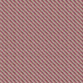 Milena (Linen Union) - 3 - Diagonally striped linen fabric featuring dots of dark brown, red-purple and light grey