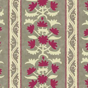 Venya (Linen Union) - 1 - Linen fabric in grey, with patterns and stripes printed in cream and dark pink