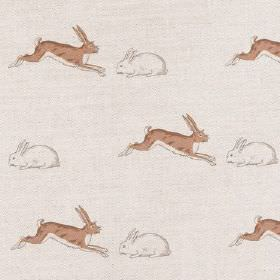 Rabbits & Hares - Brown - Brown hares and white rabbits printed in rows on an off-white linen fabric background