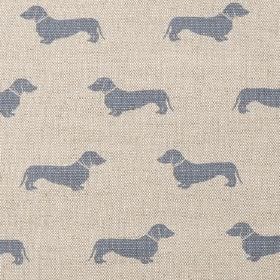 Dachshund - Blue - Light cream-beige coloured linen fabric with a pattern of rows of small, dusky blue daschunds
