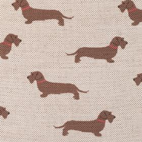 Wire Haired Dachshund - Brown - Linen fabric in a warm cream colour, with rows of plain brown daschunds which all have red collars