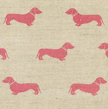 Dachshund - Pink - Dark pink daschunds creating a dog silhouette pattern on light beige linen union fabric