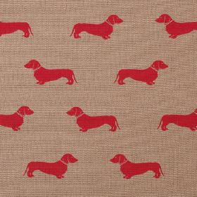 Dachshund - Red - Red daschunds printed as a small, repeated pattern in rows on light brown coloured linen fabric