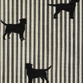 Labrador - Black - Labrador silhouettes in black against a striped linen fabric background in black and off-white