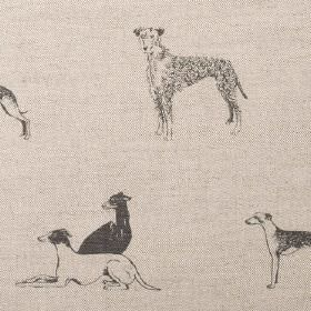 Long Dog - Steel Grey - Beige linen fabric printed with different breeds of dog in shades of grey