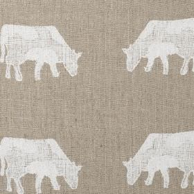 Dairy Cow - White - Cow print lined fabric with an unevenly printed white design on a brown-grey coloured background