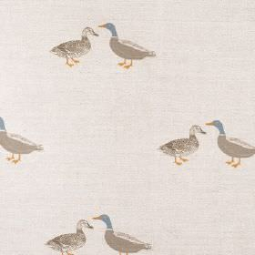 Ducks - Taupe - Pairs of mallard ducks in brown, with some gold and blue, patterning putty coloured lined fabric