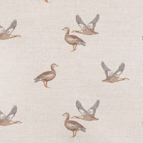 Geese - Taupe - Very pale grey coloured lined fabric which has a repeated pattern of standing and flying ducks
