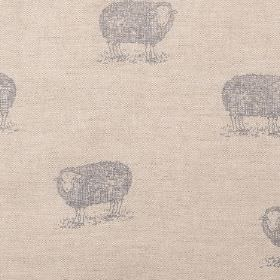 Jacob Sheep - Grey - Mocha coloured linen fabric which is visible through the light grey design of woolly sheep