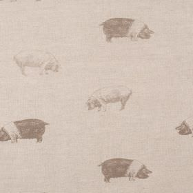 Saddleback Pig - Taupe - Pigs in two different shades of grey printed in rows on grey-cream coloured fabric made from linen