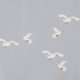 Gulls - Blue - Light blue cotton fabric patterned with small white birds which have tiny red feet and beaks