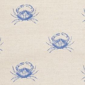 Cornish - Mud Crab - Bright cobalt blue and pale grey coloured linen union fabric featuring a pattern of rows of crabs