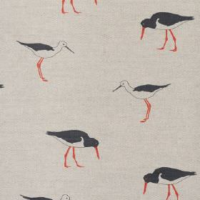Oyster Catcher - Black - Black and white wading birds with orange beaks and legs printed on fabric made from stone coloured linen
