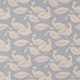 Water Birds - Pale Blue - Fabric made from light blue linen, covered with light grey birds which are generic in style but which resemble gee