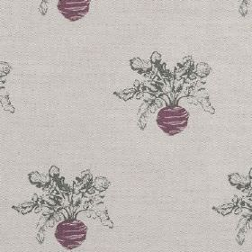 Beetroot - Purple - Dark red turnips printed with dark green leaves on a light grey linen fabric background