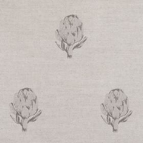 Artichoke - Grey - Grey artichokes printed on linen fabric in a very similar shade of grey